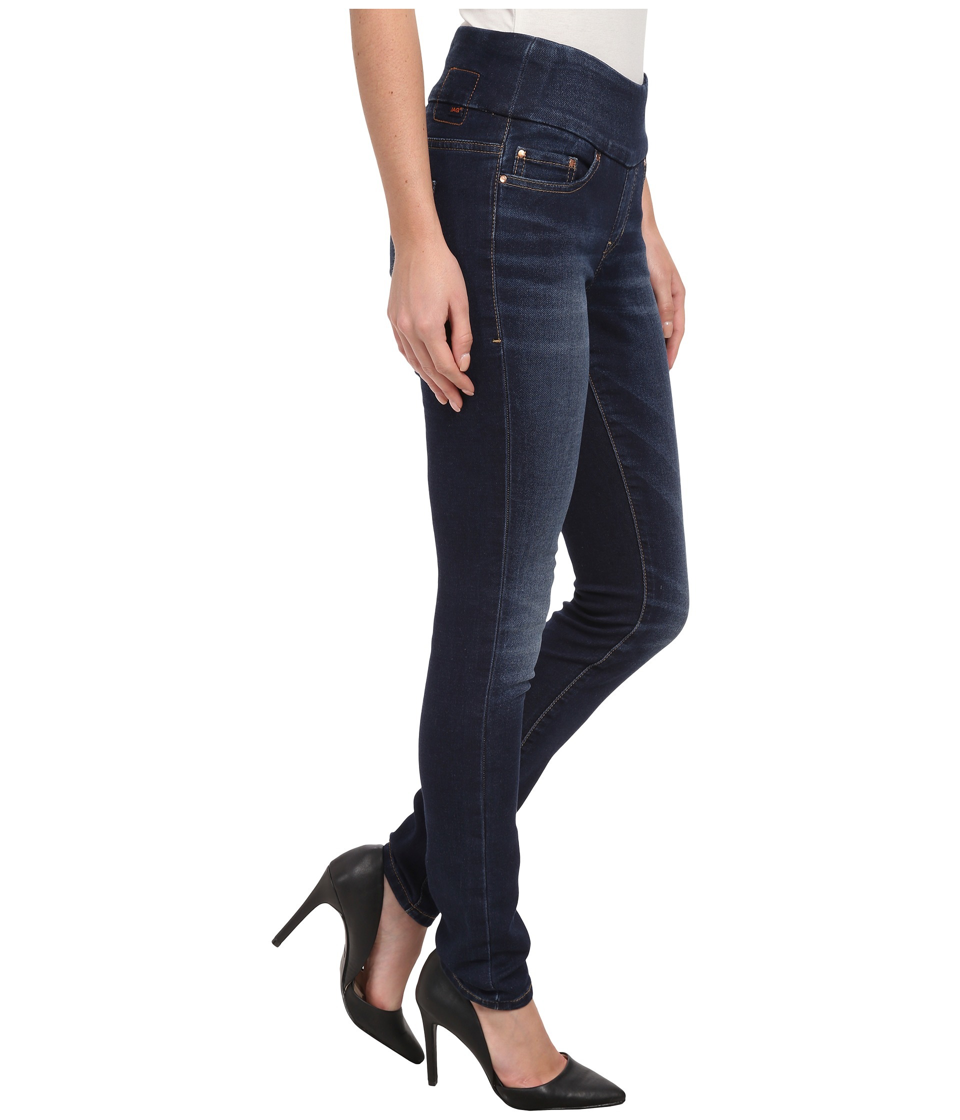 Jag Jeans Nora Pull-On Skinny Knit Denim in Blue Ridge at Zappos.com