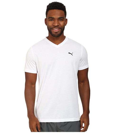 PUMA Essential S/S V-Neck - White/Black