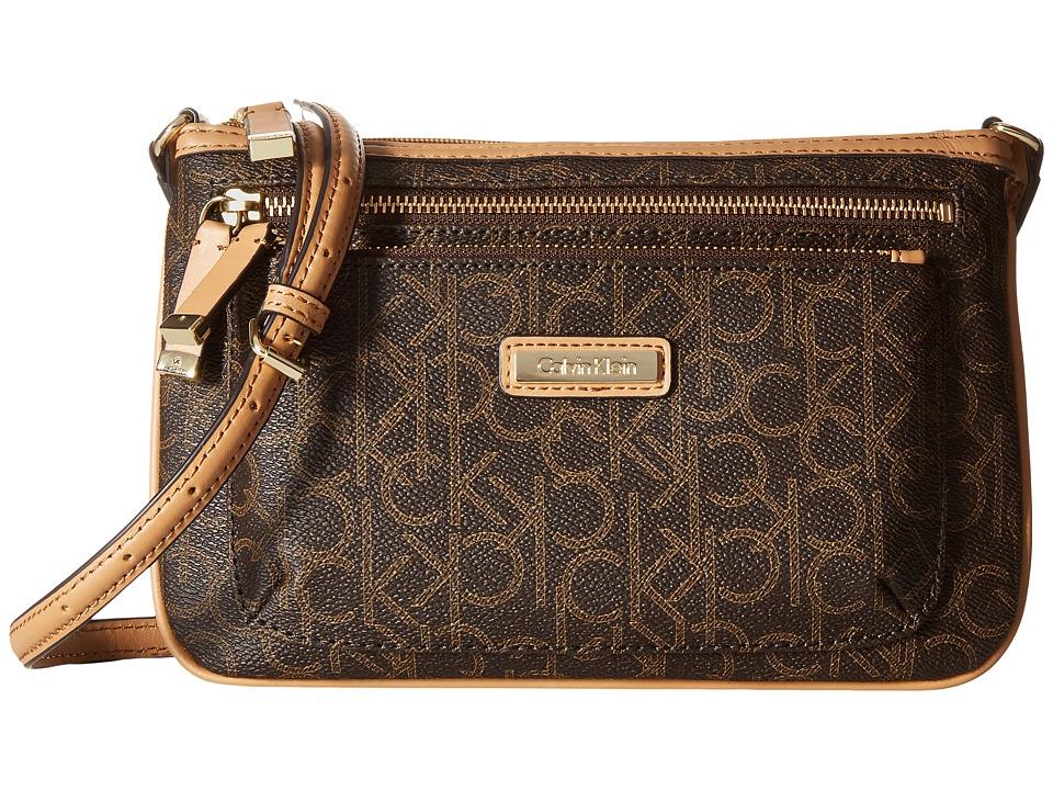 Calvin Klein - Monogram Zip Crossbody (Brown/Khaki/Camel) Cross Body Handbags