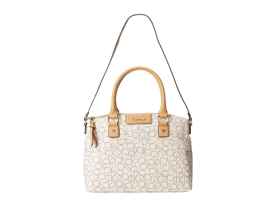 Calvin Klein - Hudson Monogram Satchel (Almond/Khaki/Camel) Satchel Handbags