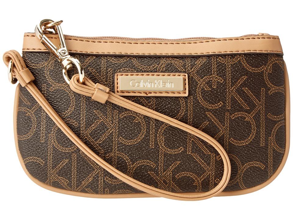 Calvin Klein - Monogram Wristlet (Brown/Khaki/Camel) Wristlet Handbags