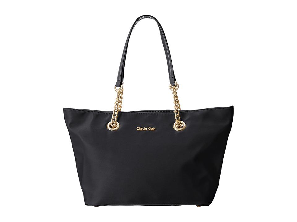 Calvin Klein Nylon Chain Tote (Black/Gold) Tote Handbags