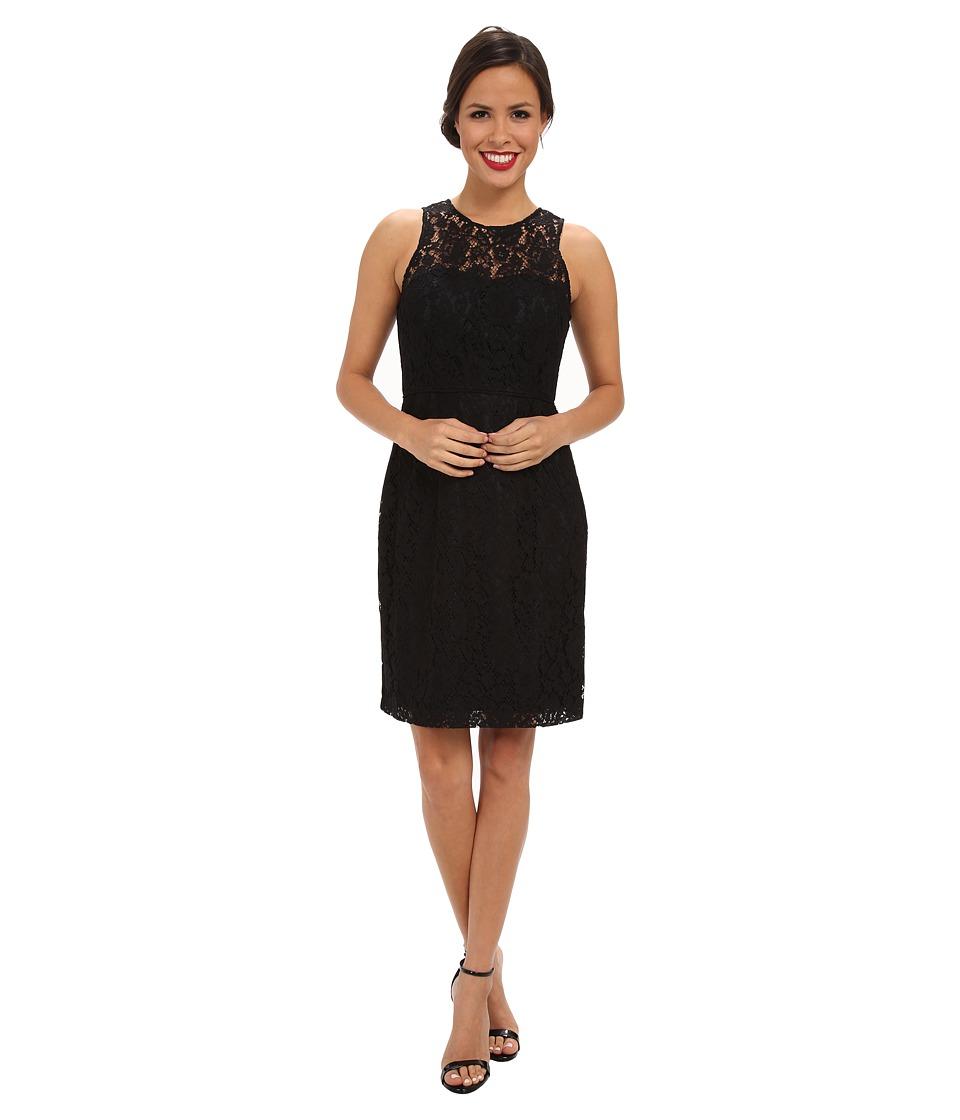 Donna Morgan Illusion Neck Lace Short Dress (Black) Women