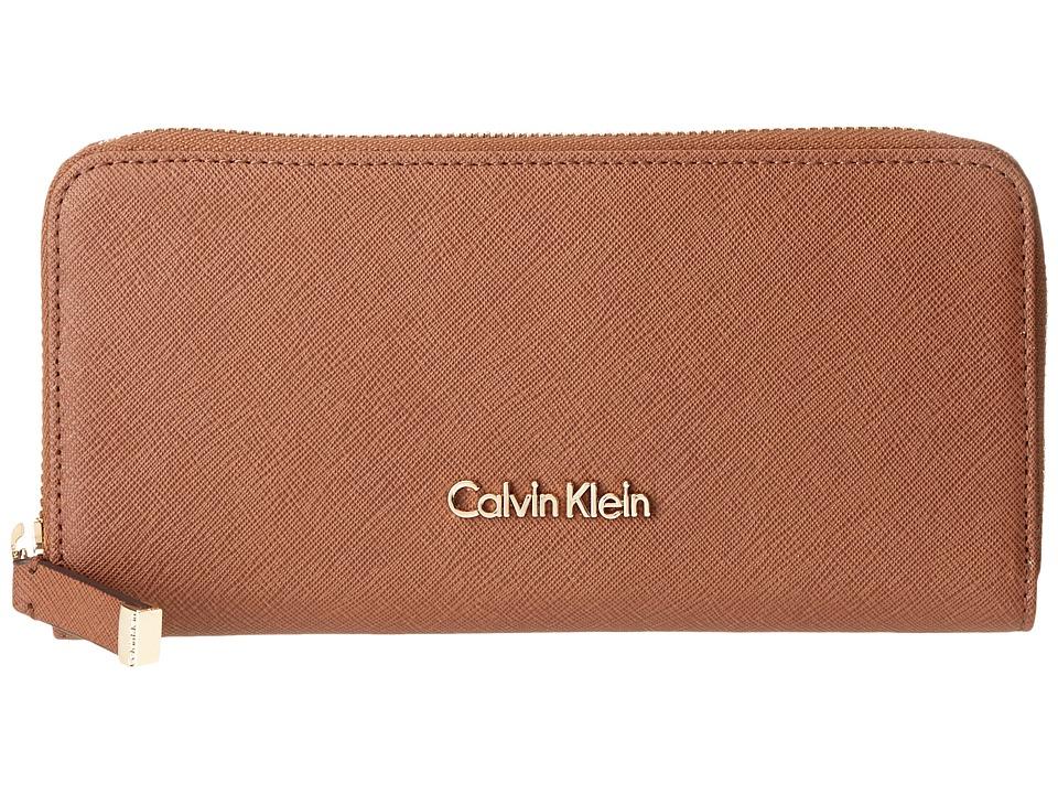 Calvin Klein Saffiano Wallet (Luggage) Wallet Handbags