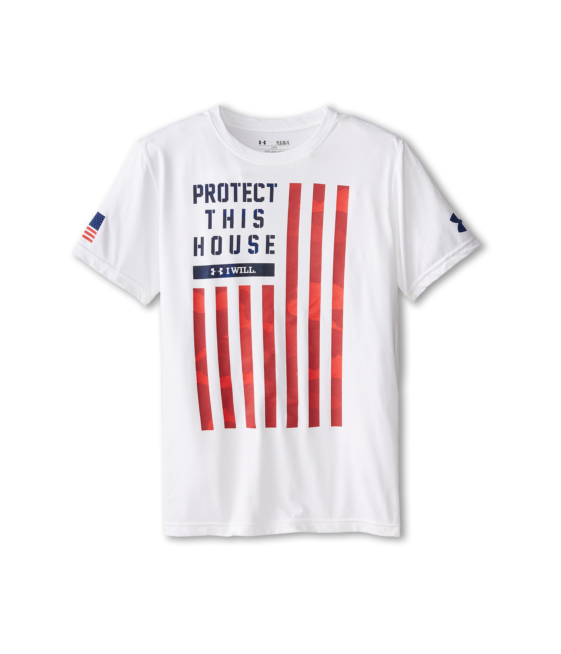 Under armour kids pth flag t shirt big kids white risk for Under armour shirts for kids