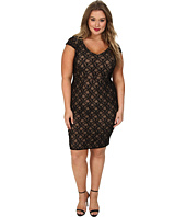 ABS Allen Schwartz - Plus Size Deep V-Neck Lace Sheath