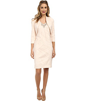 Jessica Howard - Bolero Jacket/Sleeve Beaded V-Neck Sheath Dress