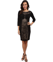 Laundry by Shelli Segal - 3/4 Sleeve Ponte Dress w/ Laser Cut
