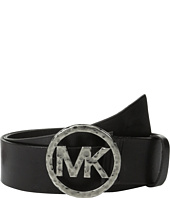 MICHAEL Michael Kors - 40mm Leather Panel On Hammered Plaque Buckle