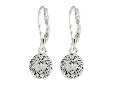 LAUREN Ralph Lauren Small Round Pave Drop Earrings - Silver/Crystal