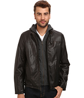 Levi's® - Hooded Faux Leather Racer Jacket with Fleece Lining