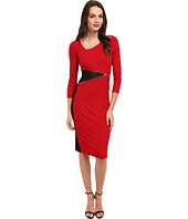 ABS Allen Schwartz - Stretch Crepe L/S T-Length Dress w/ Laser Patch Detail