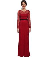 ABS Allen Schwartz - L/S Lace Gown w/ Contrast Waistband
