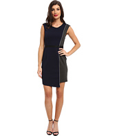 ABS Allen Schwartz - Quilted Ponte Dress w/ Asymmetric Skirt