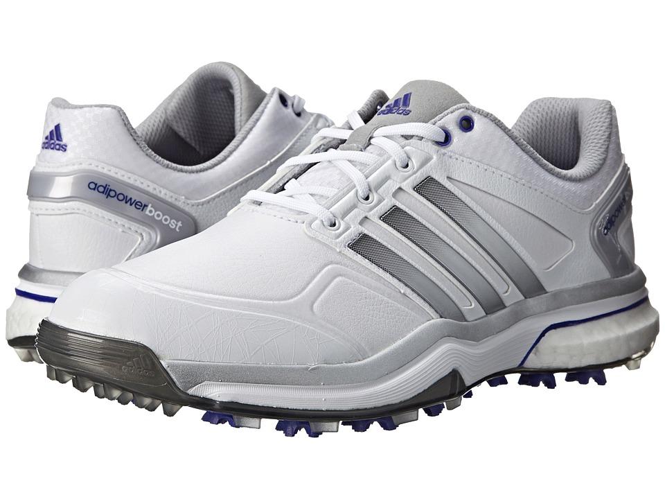 adidas Golf adiPower Boost Running White/Silver Metallic/Flash Purple Womens Golf Shoes