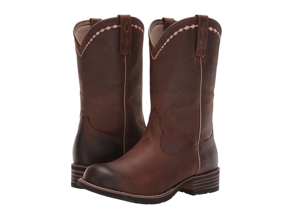 Ariat - Unbridled Roper (Distressed Brown) Cowboy Boots