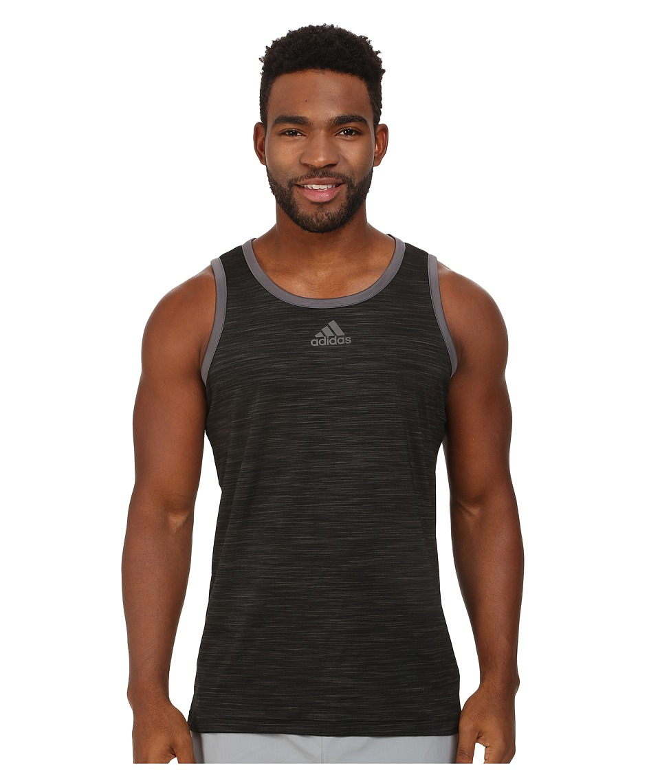 adidas - Heathered Tank (Black/Granite) Men's Sleeveless