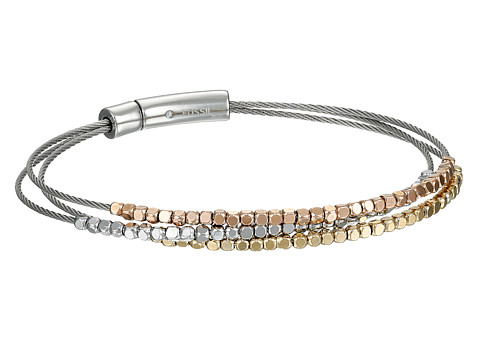 Fossil Nugget Multi Wire Bracelet - Silver/Rose Gold/Gold