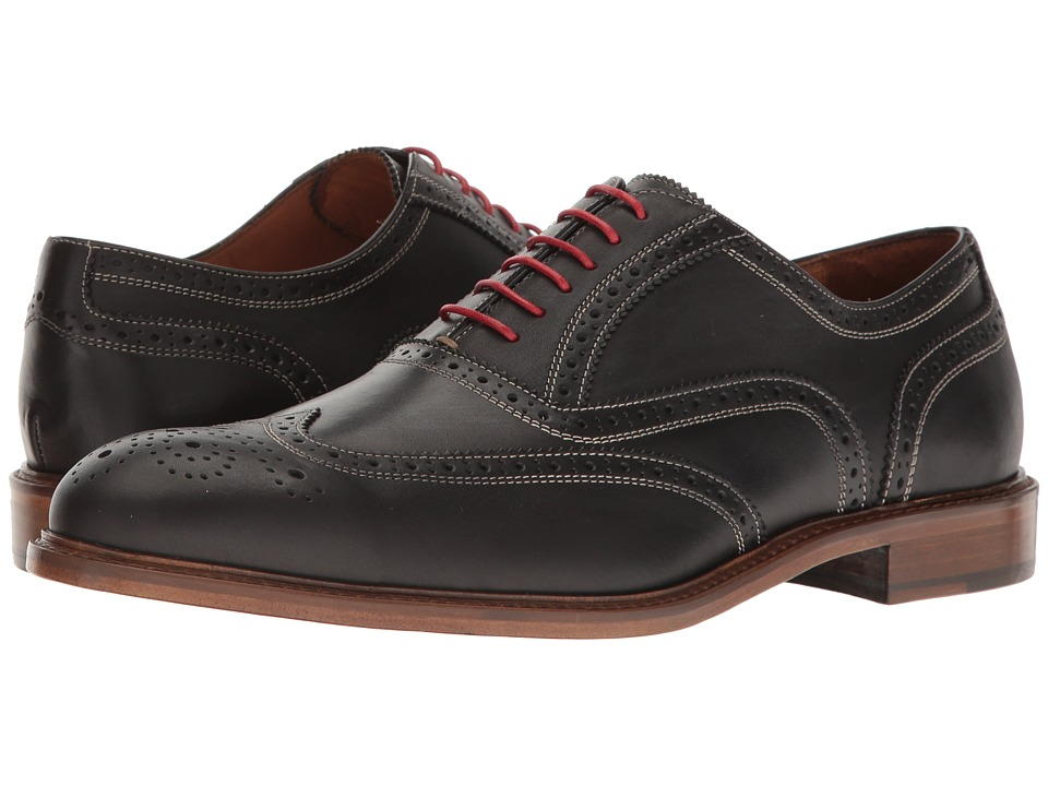 Massimo Matteo - 6-Eye Wing Tip (Black) Mens Lace Up Wing Tip Shoes
