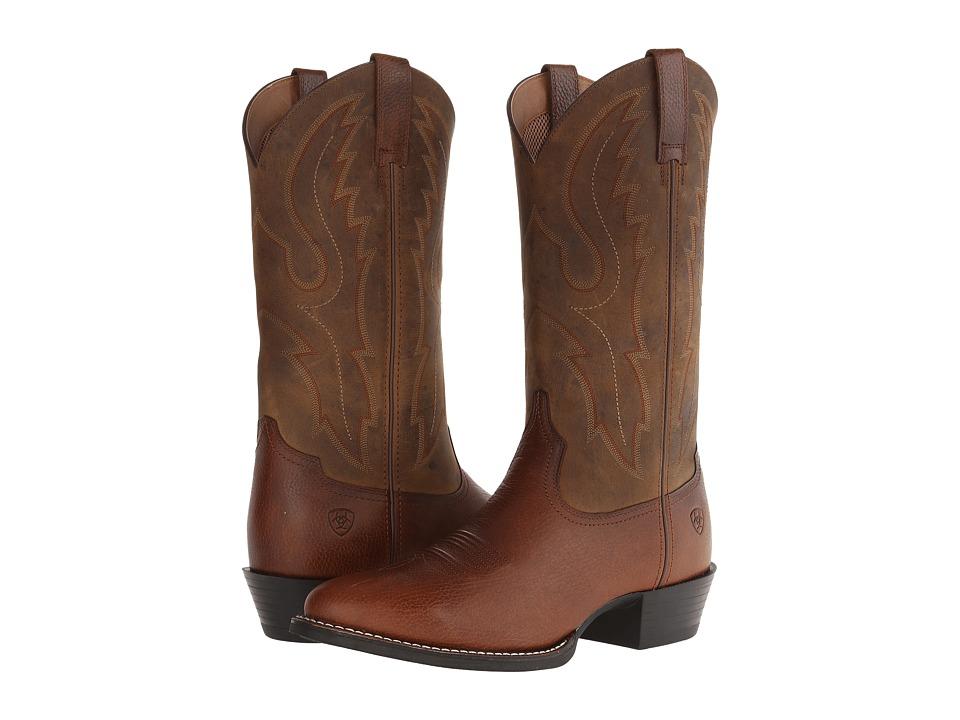 Ariat Sport R Toe (Fiddle Brown/Powder Brown) Cowboy Boots