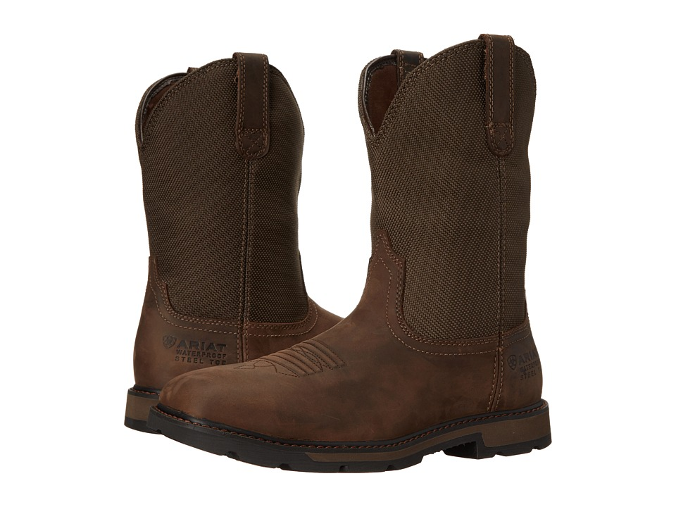 Ariat - Groundbreaker Wide Square Toe H20 ST (Palm Brown/Ballistic Brown) Cowboy Boots