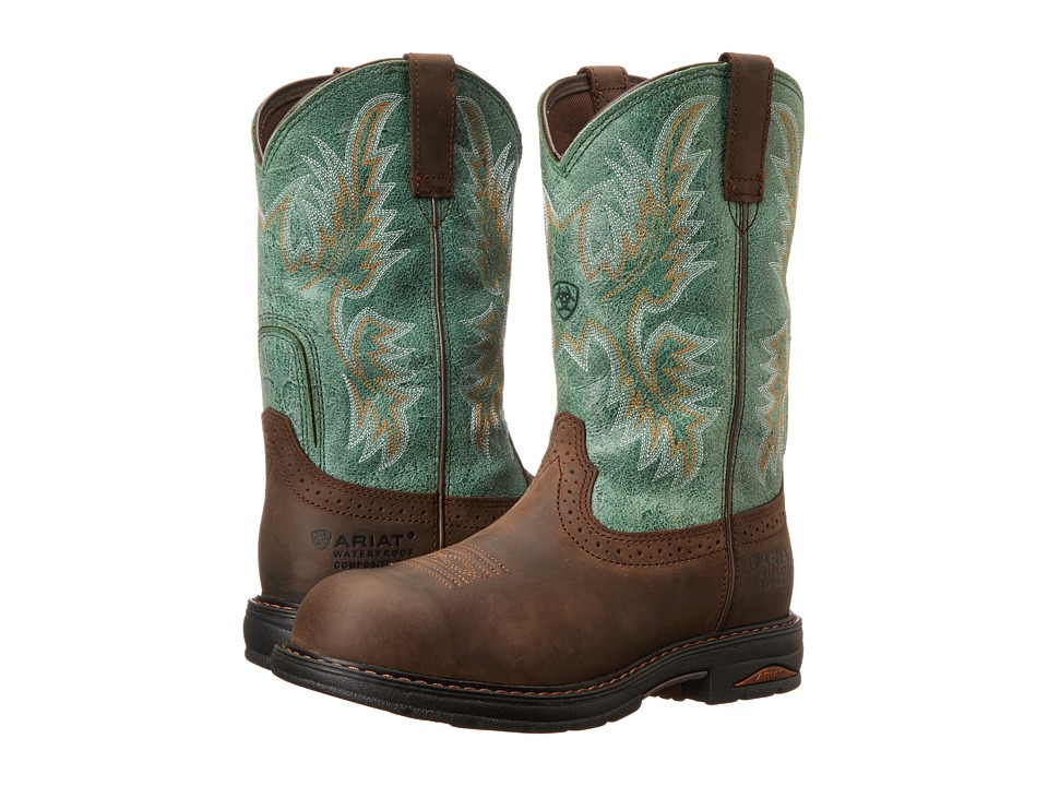 Ariat Tracey Pull-On H20 (Oily Distressed Brown/Turquoise) Cowboy Boots