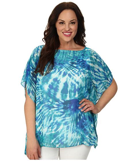 Calvin Klein Plus Plus Size Print Kimono Top (Sea Glass Multi) Women's Blouse