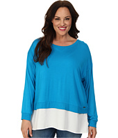 Calvin Klein Plus - Plus Size L/S Top w/ Crepe De Chine Bottom