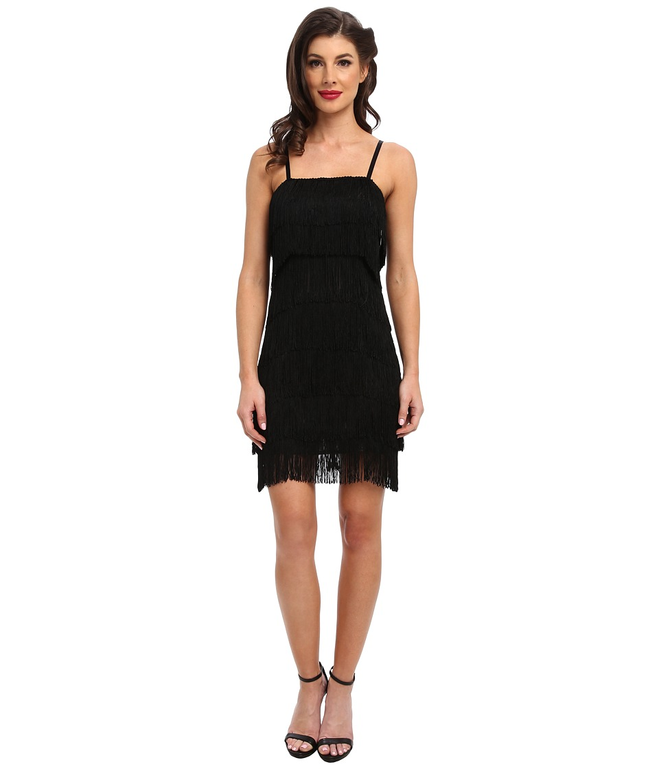 Unique Vintage Fringe Flapper Dress (Black) Women