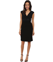 Jessica Howard - Cap Sleeve Surplus Bodice Beaded Empire Waist Sheath Dress