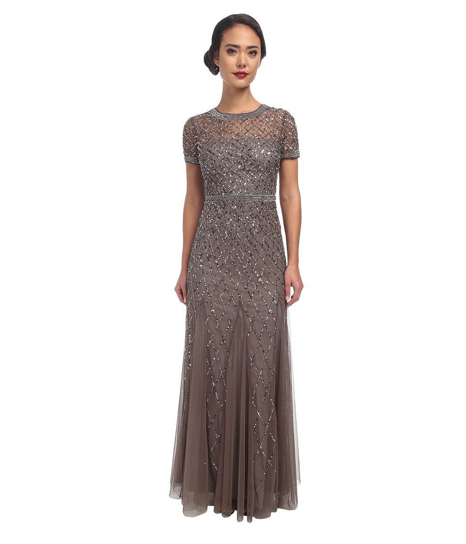 Adrianna Papell Cap Sleeve Fully Beaded Gown Lead Womens Dress