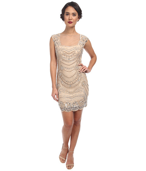 Adrianna Papell Short Beaded Dress with Illusion