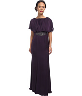 Adrianna Papell - Beaded Waist Capelet Gown