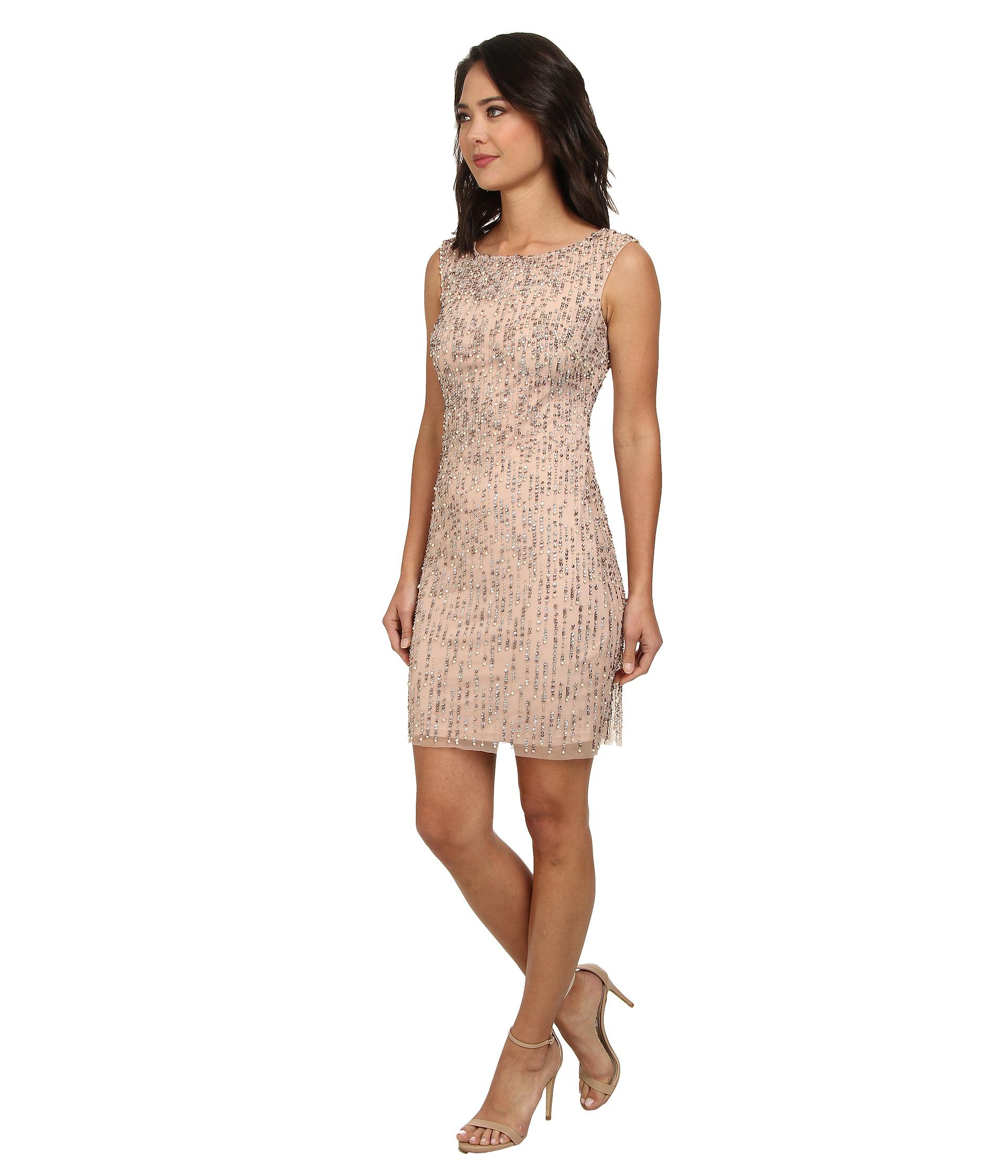 Adrianna Papell Sleeveless Fully Beaded Cocktail Dress - 6pm.com