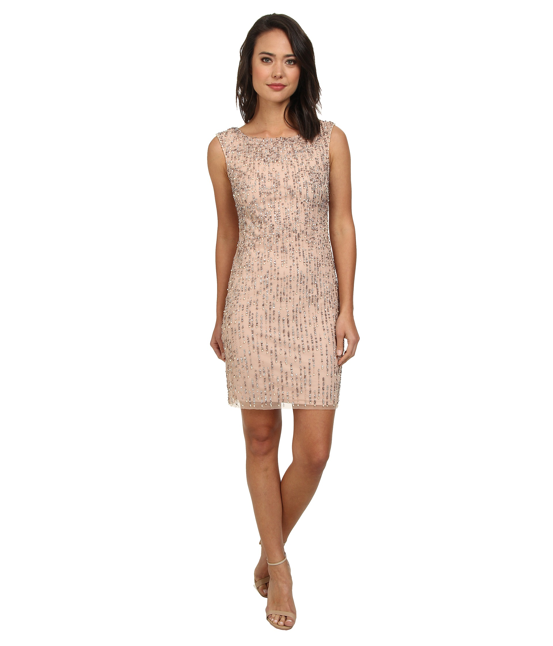 Adrianna Papell Sleeveless Fully Beaded Cocktail Dress Blush - 6pm.com