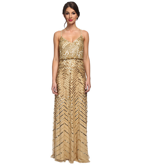 papell beaded blouson gown gold zappos free