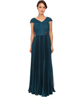 Adrianna Papell - Shirred Capelet with Pleated Skirt