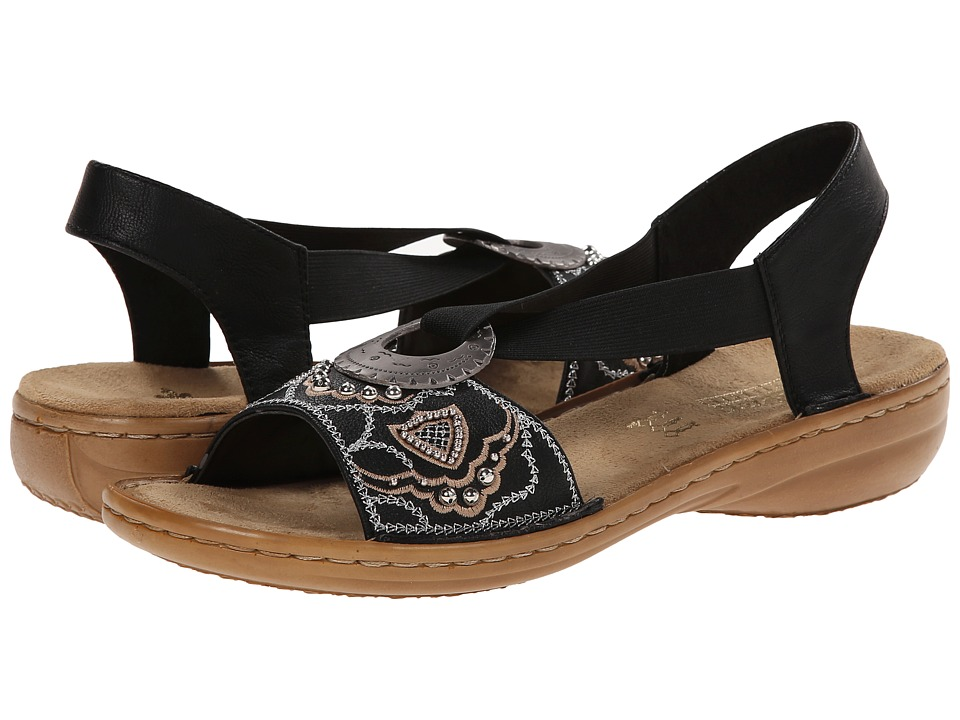 Rieker 608B9 Regina B9 Black Womens Sandals