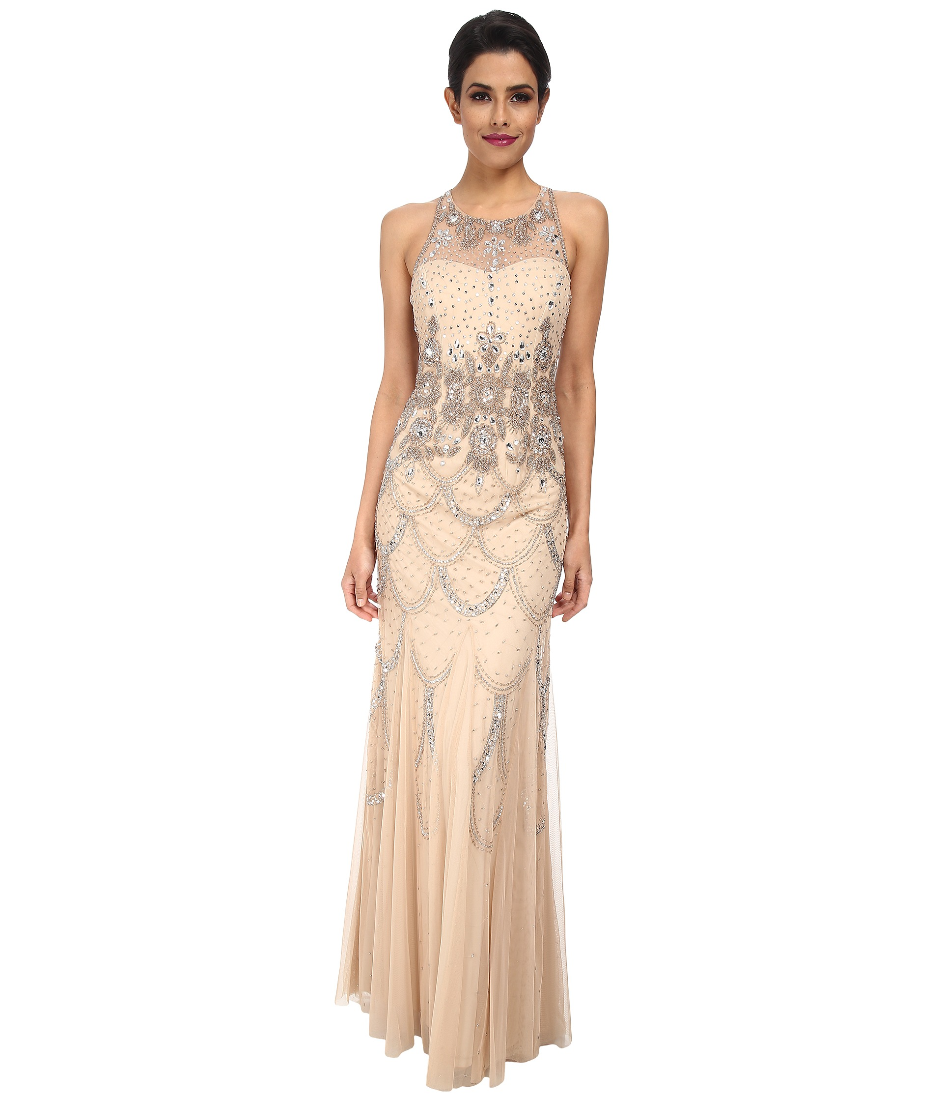 Adrianna papell halter fully beaded gown champagne for Fully beaded wedding dresses