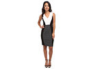 Donna Morgan Crepe Ponte S/S V-Neck w/ Side Panels Dress (Black/White)
