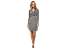 Donna Morgan Three-Quarter Sleeve Metallic Wrap Dress (Silver)