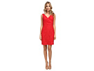 Donna Morgan V-Neck Sleeveless Sheath w/ Suplice Bodice (Vermillion)