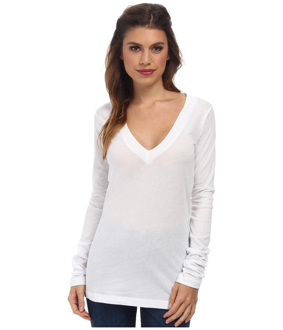 LNA 007 L/S Deep V Neck White Womens Long Sleeve Pullover