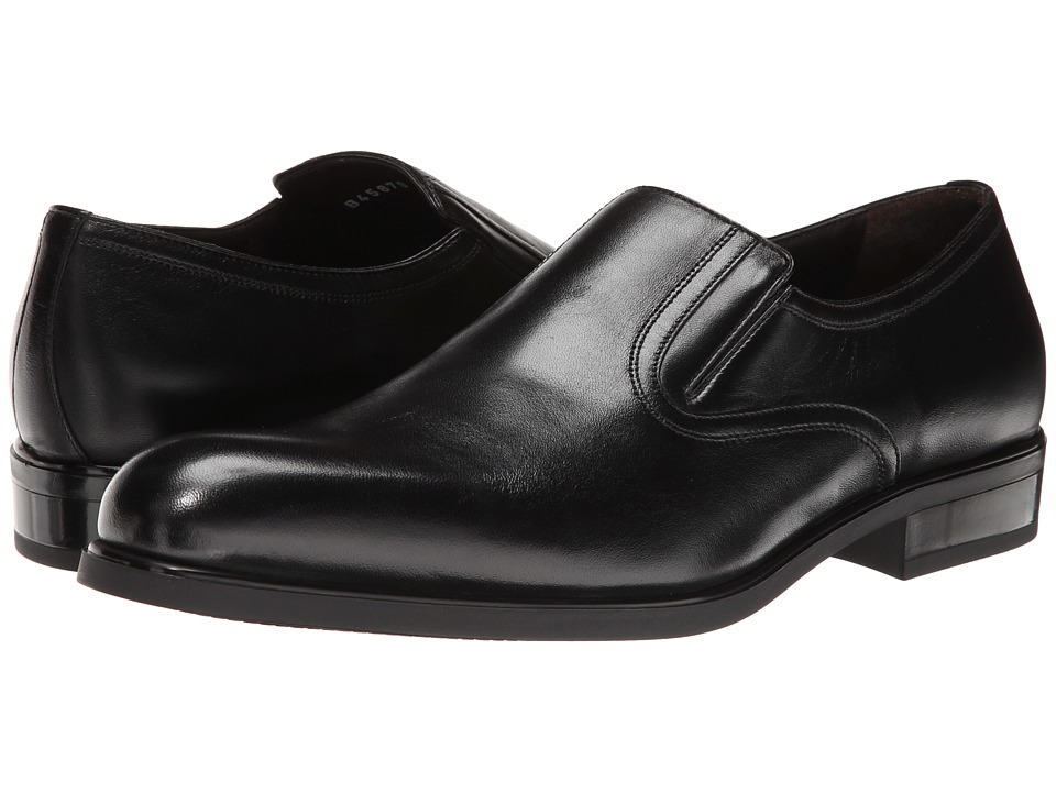 a. testoni - Nappa Slip On w/ Rubber Sole Side Vents (Black) Mens Slip on  Shoes