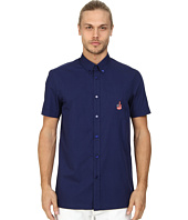 LOVE Moschino - Short Sleeve Blue Patch Button Up