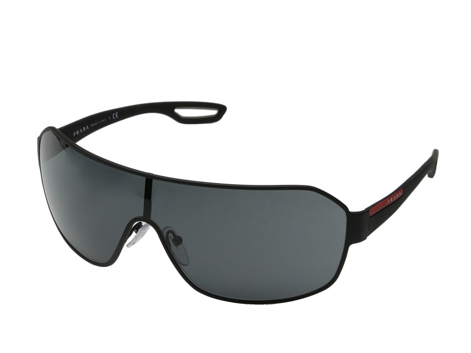Prada Linea Rossa 0PS 52QS Black Rubber/Grey Fashion Sunglasses