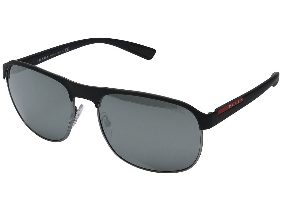 Prada Linea Rossa 0PS 51QS Black/Gunmetal Rubber/Grey Silver Mirror Fashion Sunglasses