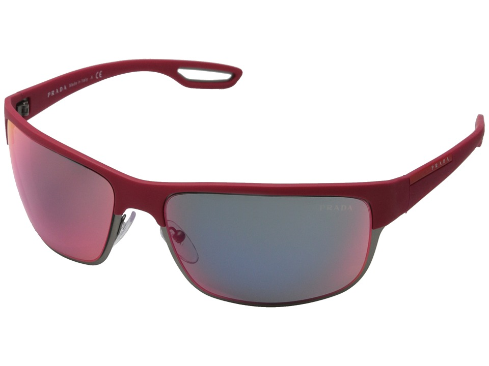 Prada Linea Rossa 0PS 50QS Red Matte Gunmetal/Red Multilayer Fashion Sunglasses