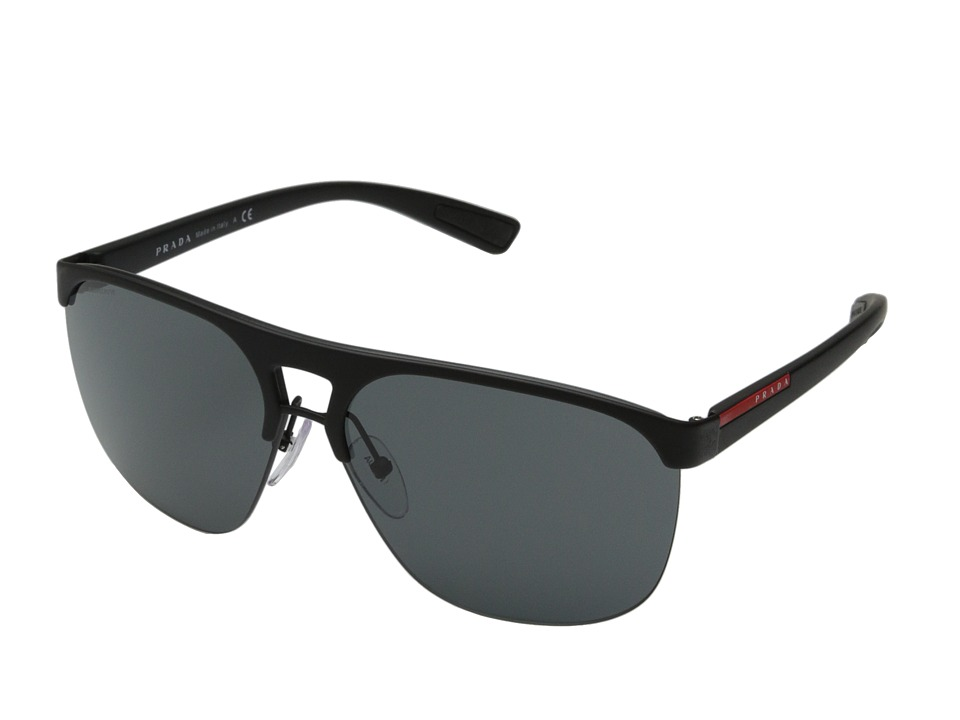 Prada Linea Rossa 0PS 53QS Black Rubber/Grey Fashion Sunglasses