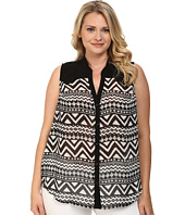 Roper - Plus Size 9592 Black & White Aztec Print Georgette